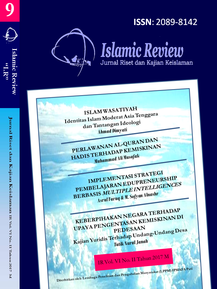 Islamic Review : Jurnal Riset dan Kajian Keislaman  Vol VI No. 2 Tahun 2017